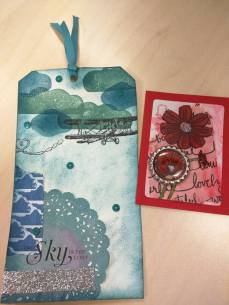 This was a decontructed Tag swap. We swapped supplies and then made two tags - one with their supplies and one with our supplies.